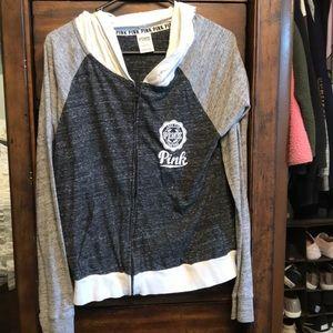 Pink Victoria secret zip up hoodie - size large